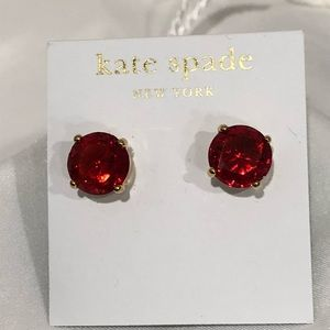 Kate Spade Red gumdrops gold post earrings.